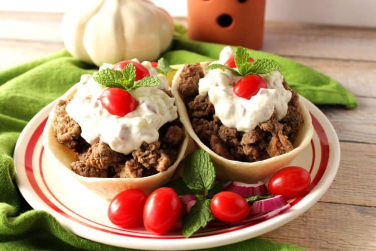Kid Favorite Sloppy Gyros Tortilla Boats
