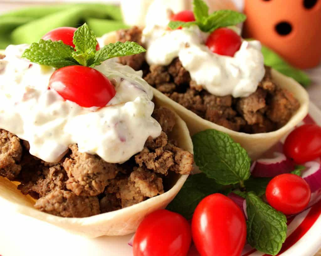 Ground Lamb in Flour Tortilla Boats with Tzatziki Sauce