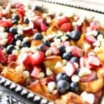 Creamy Strawberry Rhubarb Blueberry Bread Pudding