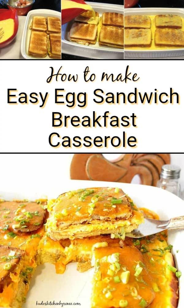Egg Sandwich Breakfast Casserole Vertical Collage Title Text Image