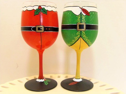 Santa and Elf Hand Painted Wine Glasses