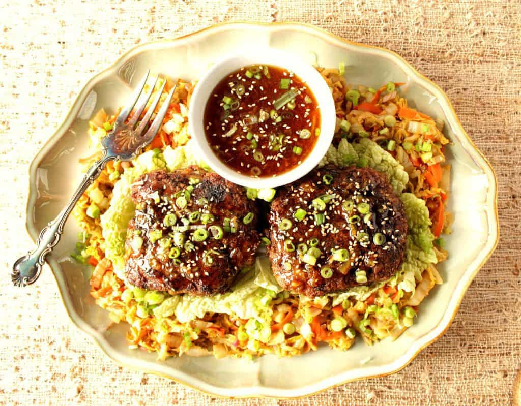 Crispy Duck Patties Over Asian Slaw