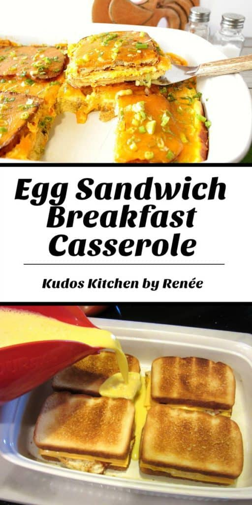 Title text collage image of egg sandwich breakfast casserole.