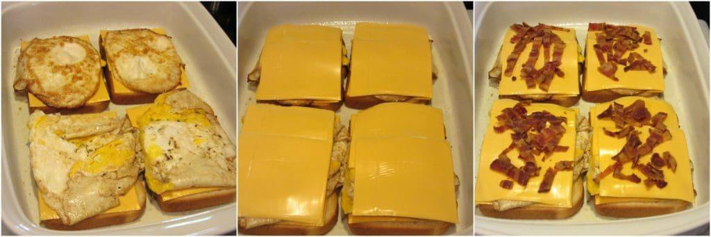 Making cheesy egg sandwich breakfast casserole photo tutorial.