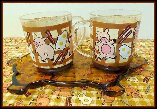 Eggs, Piggy and Bacon hand painted mugs