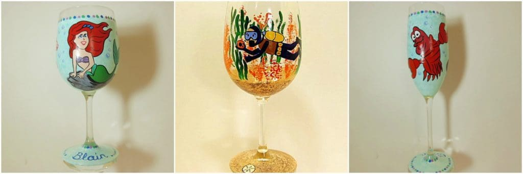 Under the Sea Hand Painted wine glasses