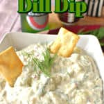 Closeup photo of cucumber dill dip in a bowl with two crackers and title text graphic overlay