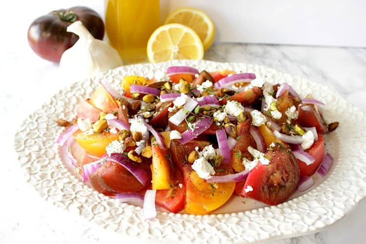 Heirloom Tomato Salad with Garlic Lemon Infused Olive Oil