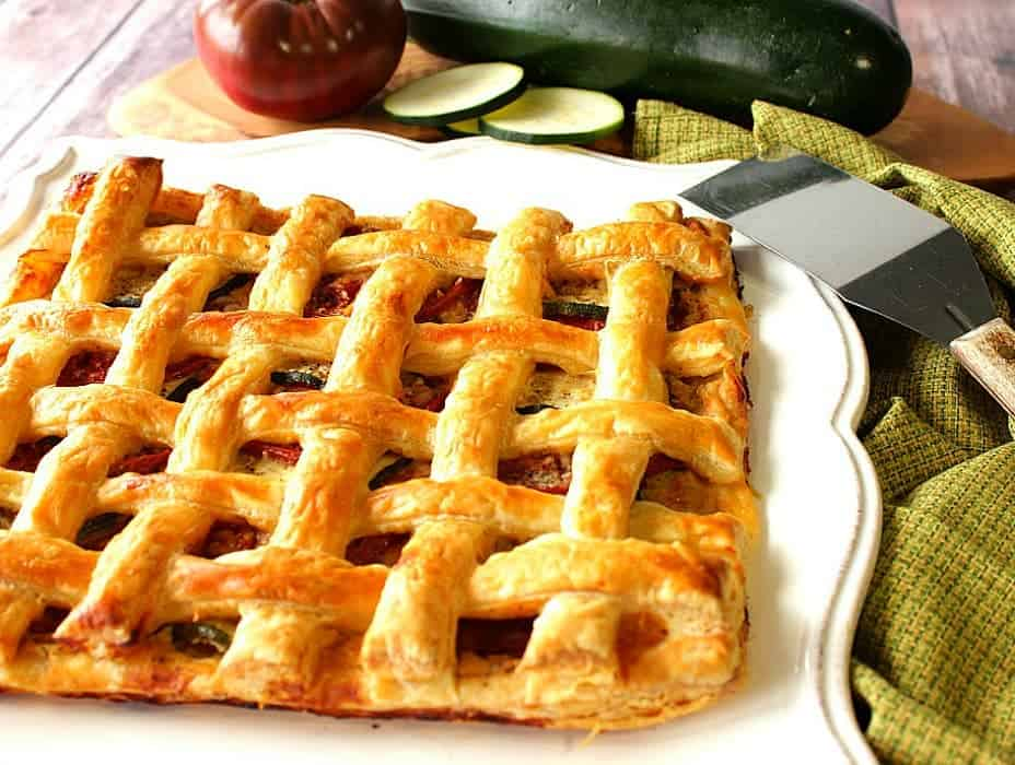 Zucchini and Tomato Tart with Hummus and Puff Pastry