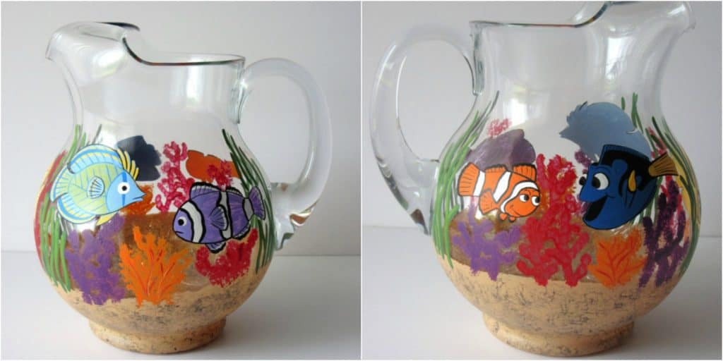 Hand painted Under the Sea pitcher
