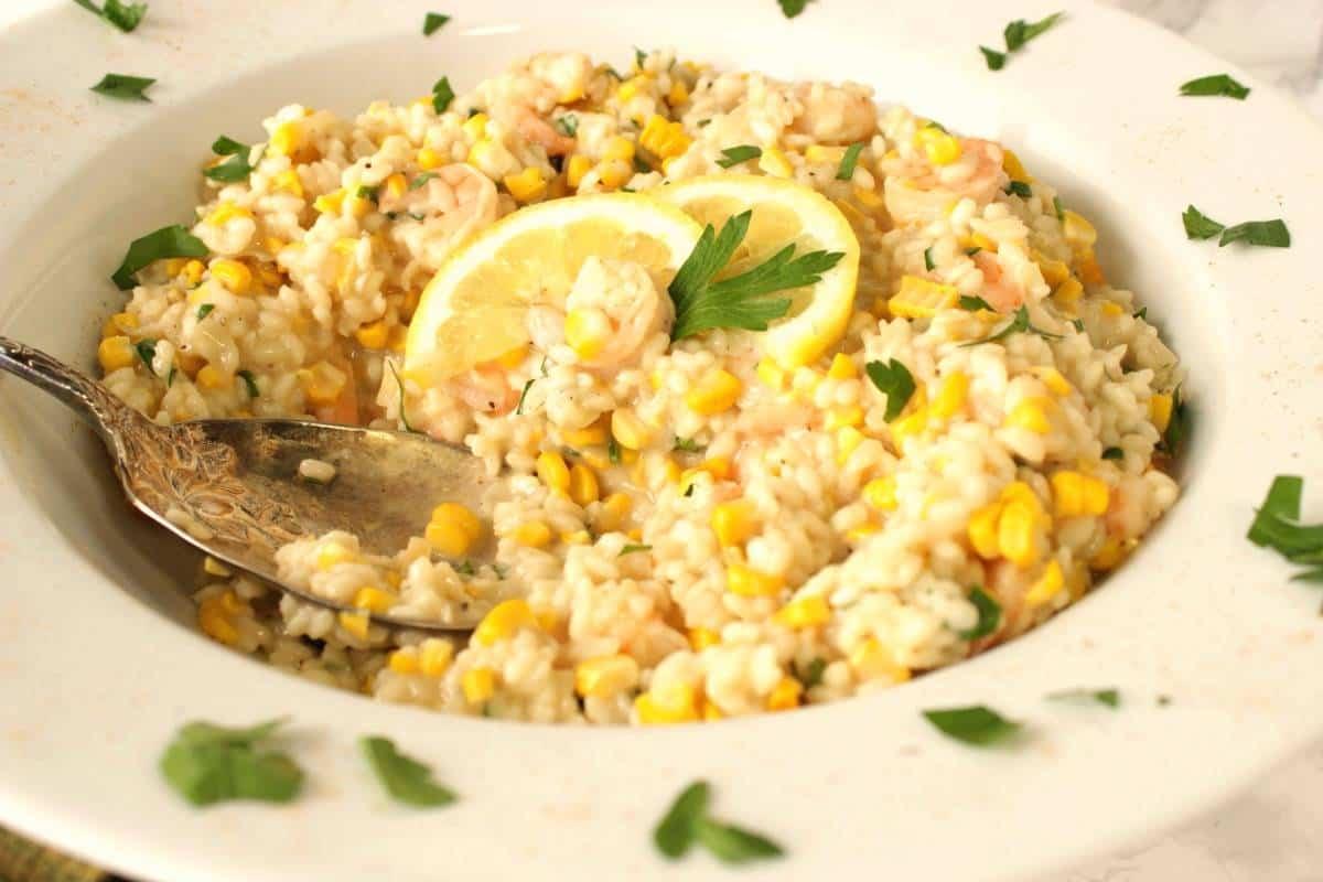 Sweet Corn Risotto with Shrimp