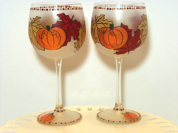 Hand Painted Autumn Leave and Pumpkin Wine Glass