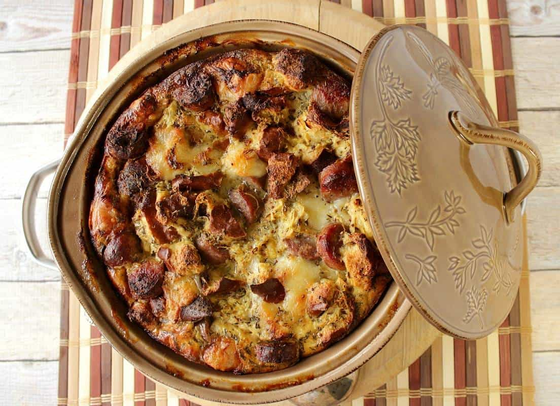 Pretzel Roll Strata with Brats and Sauerkraut