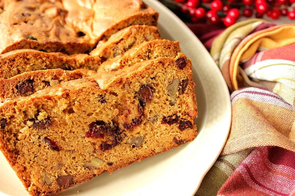 Quick Bread with Cranberries, Chocolate and Pecans