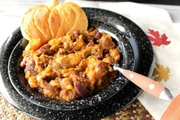 Pumpkin Shape Biscuits with Butternut Squash Chili