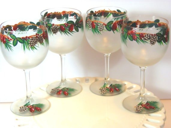 Winter Woods Frosted Hand Painted Wine Glasses