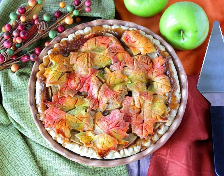 Apple Pie with Colorful Pie Crust Leaves