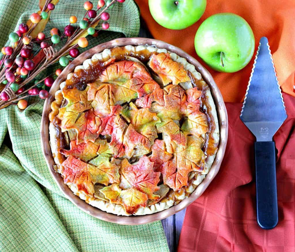 Apple Pie with Colorful Autumn Leaves Crust - kudoskitchenbyrenee.com