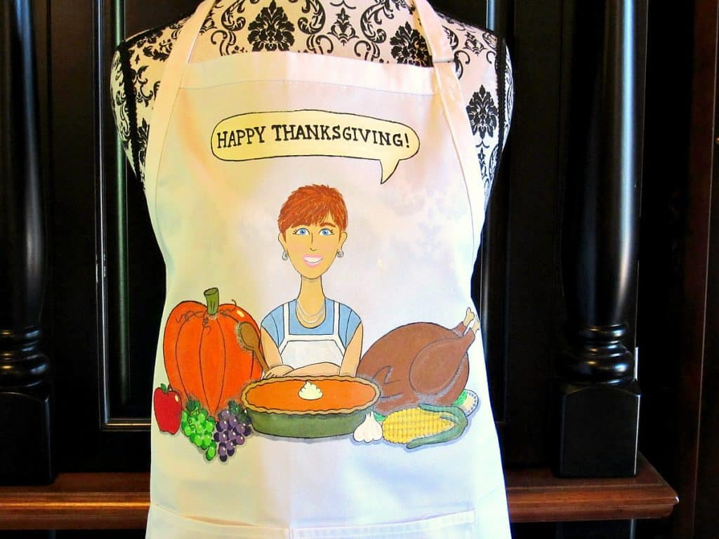 Hand Painted Thanksgiving Feast Apron