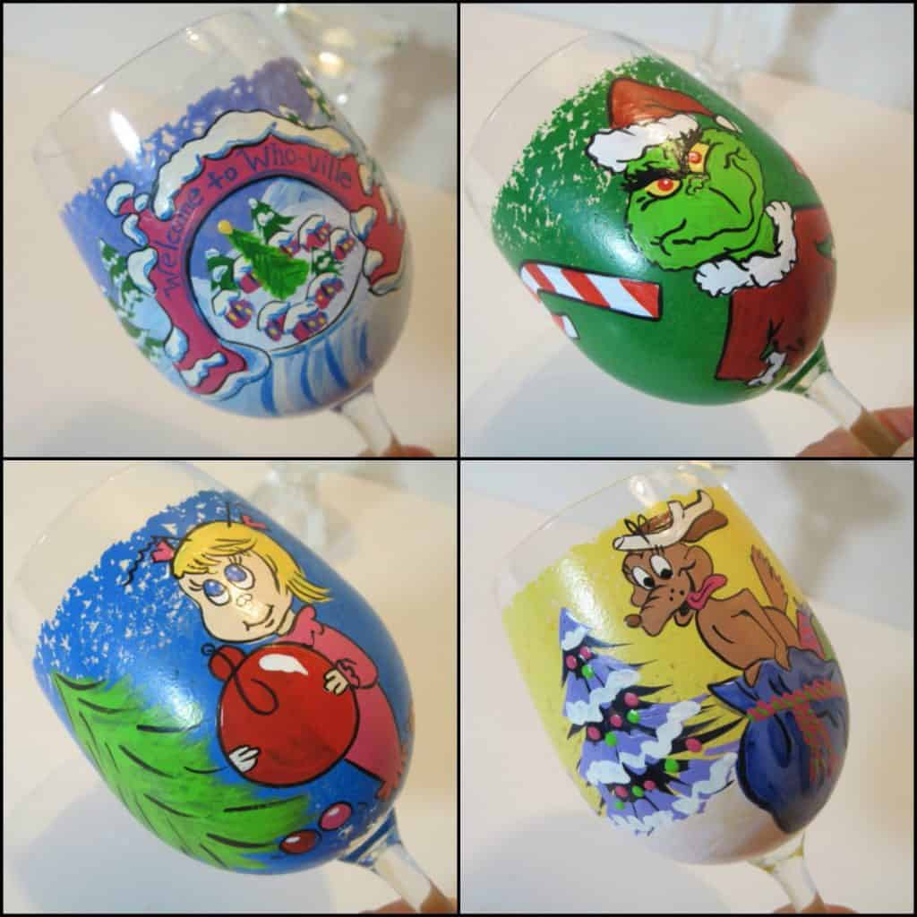 Hand Painted Grinch Wine Glasses