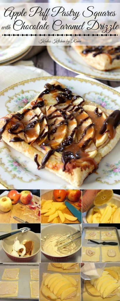 Rustic Apple Puff Pastry Squares with a Chocolate Caramel Drizzle
