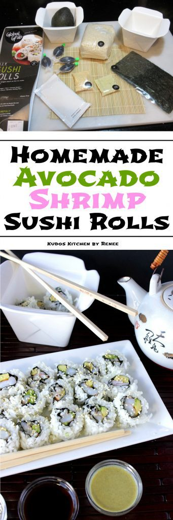 Easy to make Avocado Sushi Rolls long collage title images