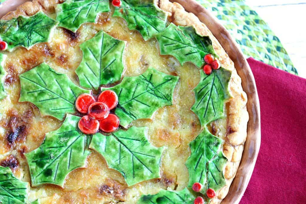 Coconut Custard Banana Pie with a Holly Berry Crust