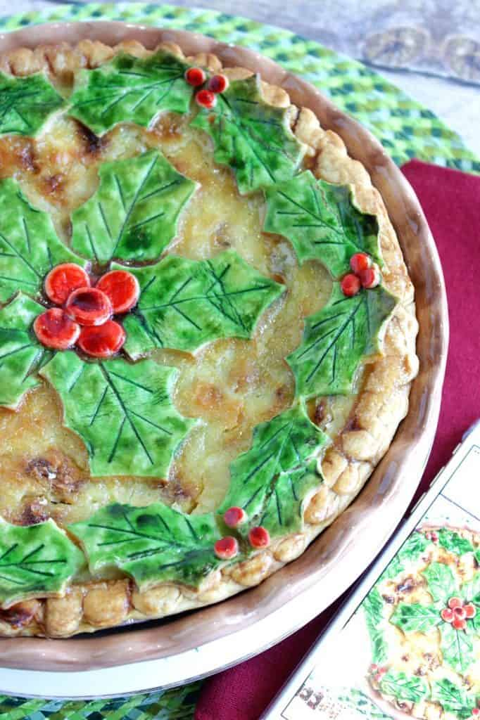 Coconut Banana Custard Pie with Christmas Decoration