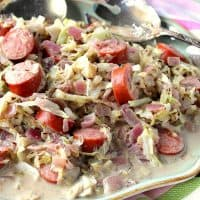 30-Minute Comforting Caraway Creamed Cabbage with Smoked Sausage