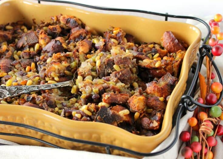 Buttery Pretzel Roll Stuffing with Pine Nuts