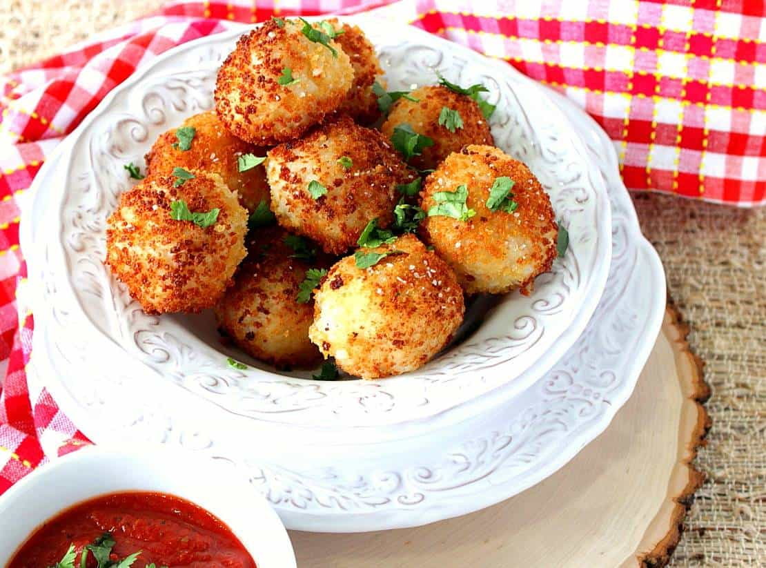 Pan Fried Mozzarella Cheese Stuffed Rice Balls with Marinara
