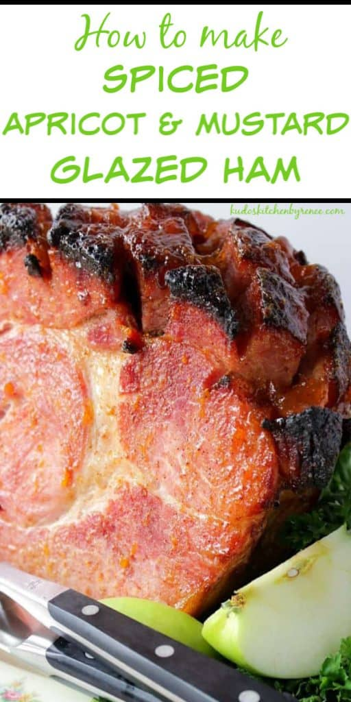 Vertical Title Text Image of a glazed ham with apples and a carving knife and fork.