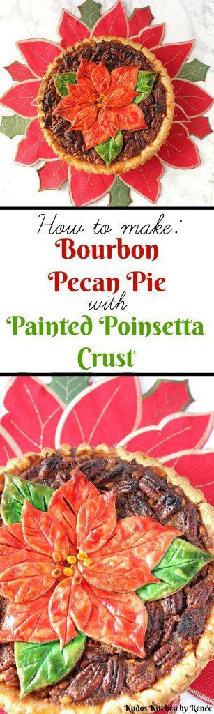 Painted Poinsettia Crust Bourbon Pecan Pie