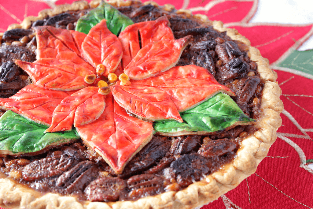 Bourbon Pecan Pie with Painted Poinsettia Crust
