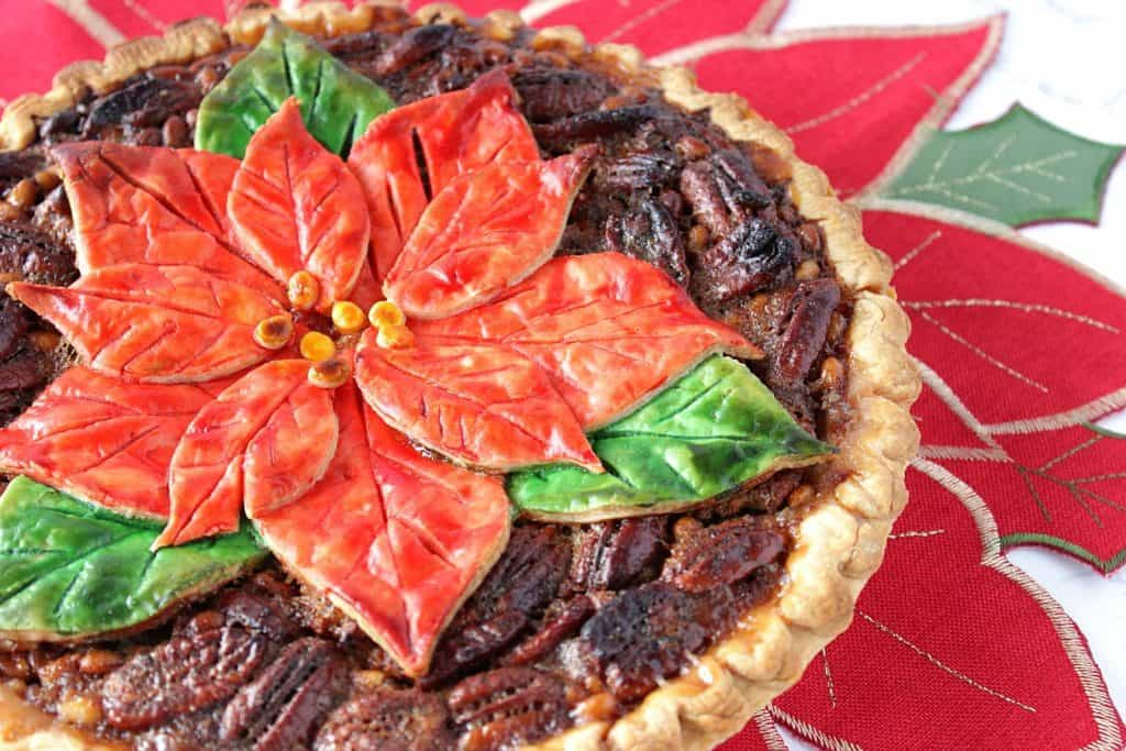 Christmas Bourbon Pecan Pie with Painted Poinsettia Crust Recipe