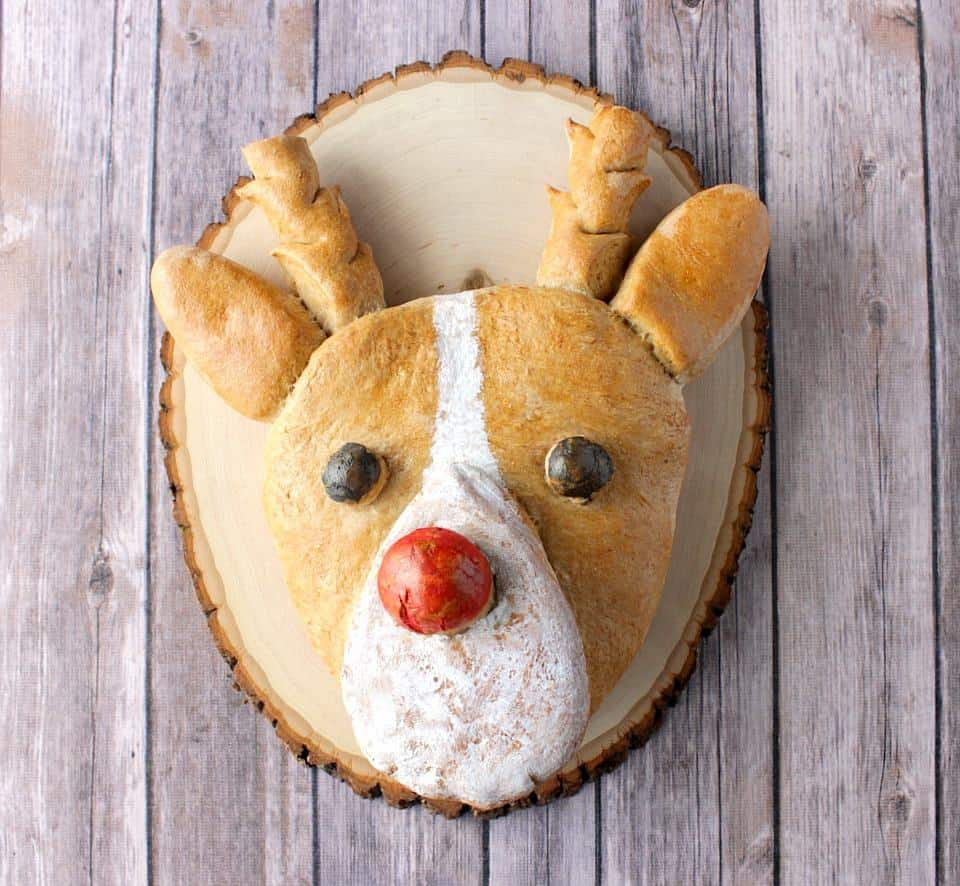 Whole Wheat Rudolph shaped bread on a wooden board
