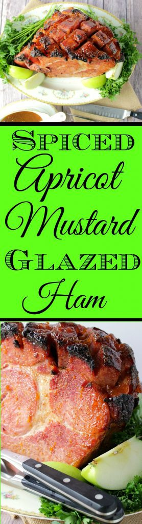 Long title text collage image of ham with apples and kale on a platter.