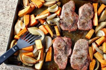 One Pan Ponzu Pork Chop Dinner w/Sweet Potatoes, Apples & Onions