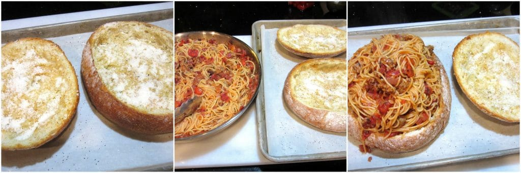 How to make a spaghetti sandwich.
