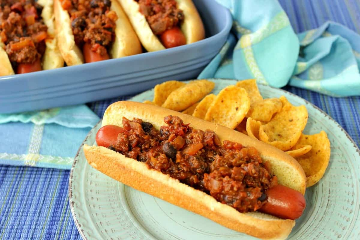 Sloppy Jose Hot Dogs with Black Beans and Chiles
