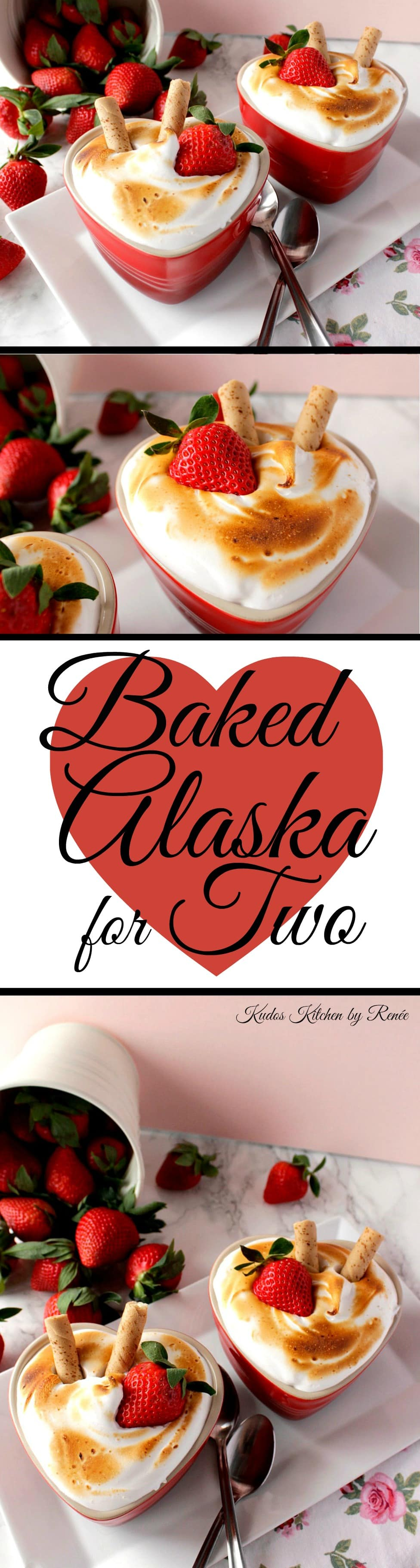 Baked Alaska for two long collage title image