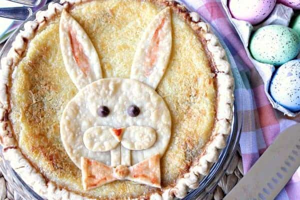 Overhead picture of a pie with a decorative Easter bunny crust.