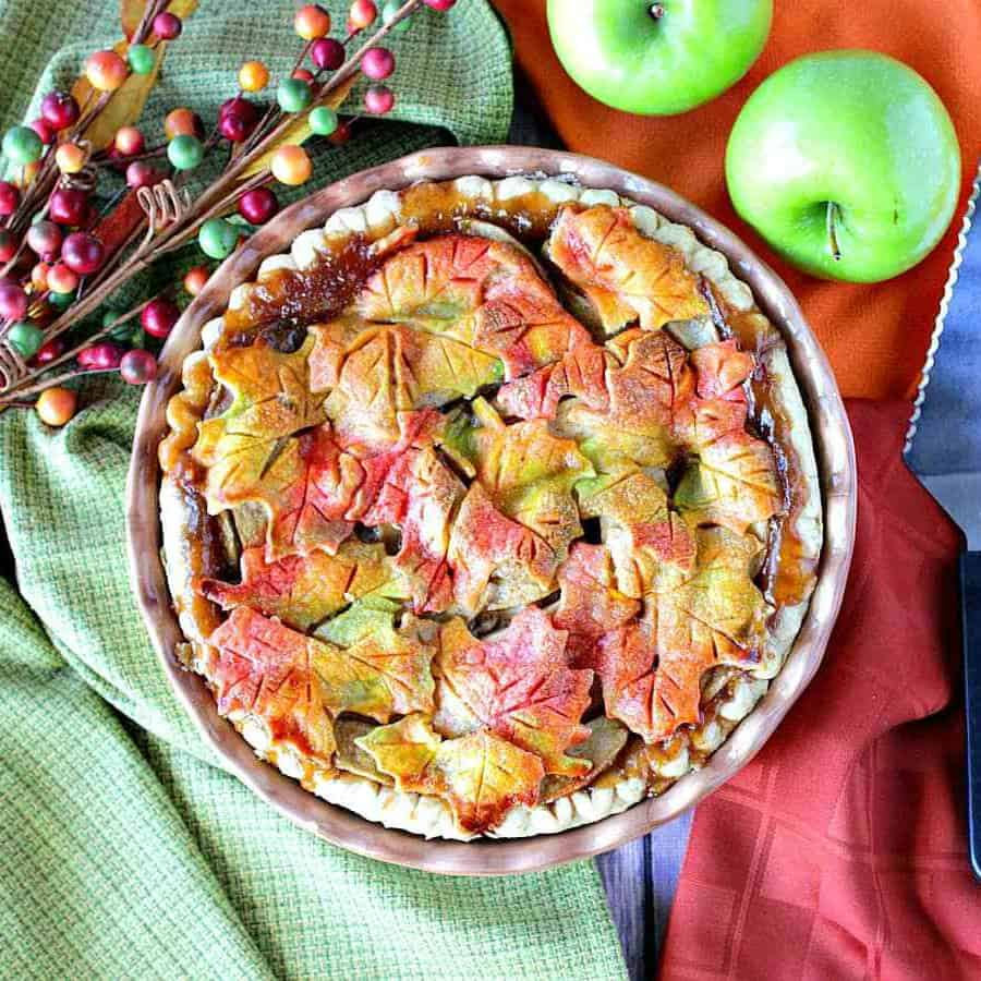 Overhead picture of color leaf pie.