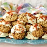 Best Ever Gluten Free Maple Bacon Oatmeal Cookies Dipped in White Chocolate