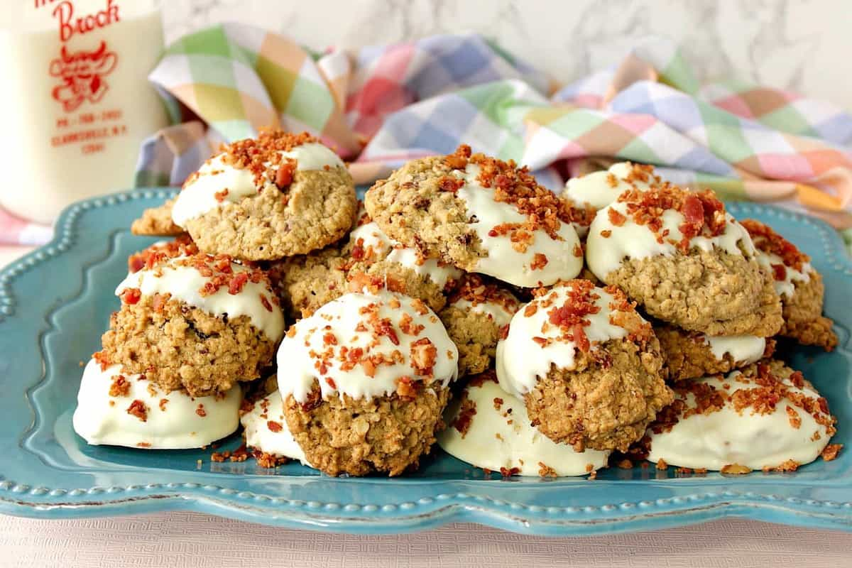 Gluten Free Maple Bacon Cookies Dipped in White Chocolate