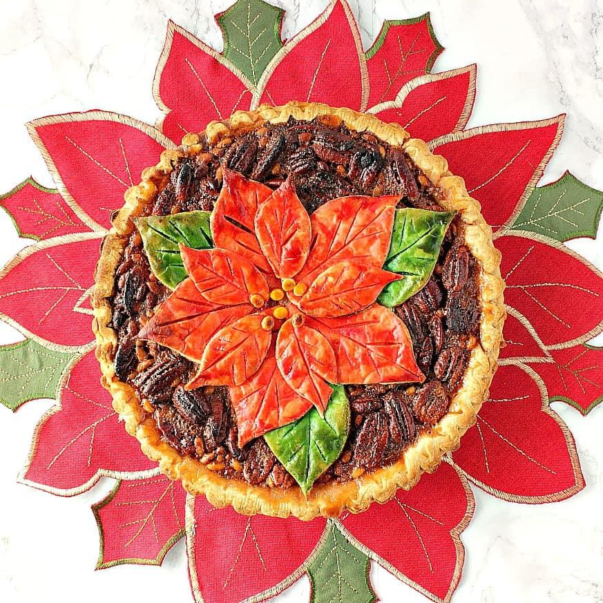 Overhead picture of poinsettia pecan pie