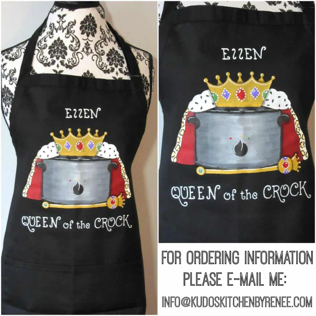 Queen of the Crock hand painted apron