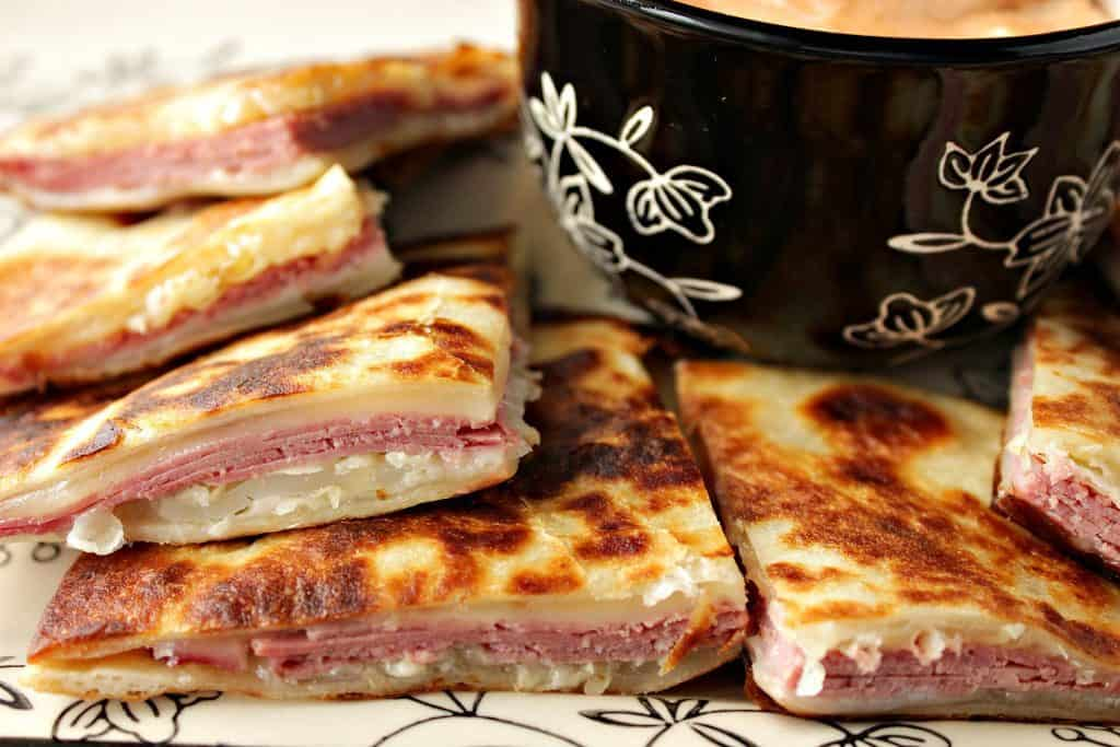 Corned Beef & Swiss Cheese Reuben Quesadillas with 1000 Islands Dipping Sauce