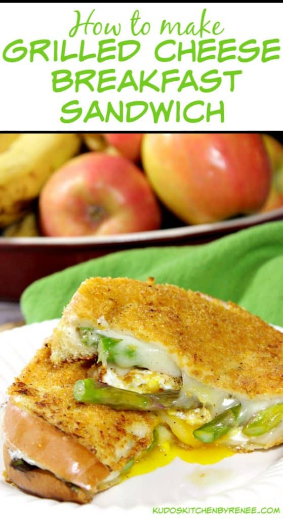 Vertical title text image of a sliced grilled cheese breakfast sandwich with provolone cheese and asparagus.