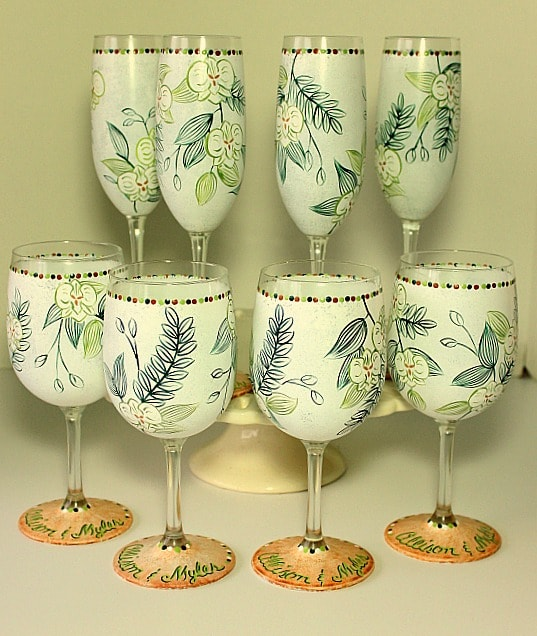 Hand Painted Destination Wedding Glassware